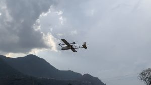 A drone flying to delever medicine to remote areas of Nepal